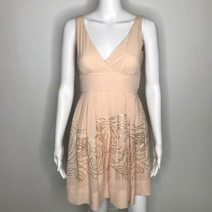 Johnny Martin Nude Floral Sequin Dress Size 1 XS